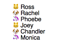 Cat, dog and unicorn emoji in cyclical pattern for six list counters