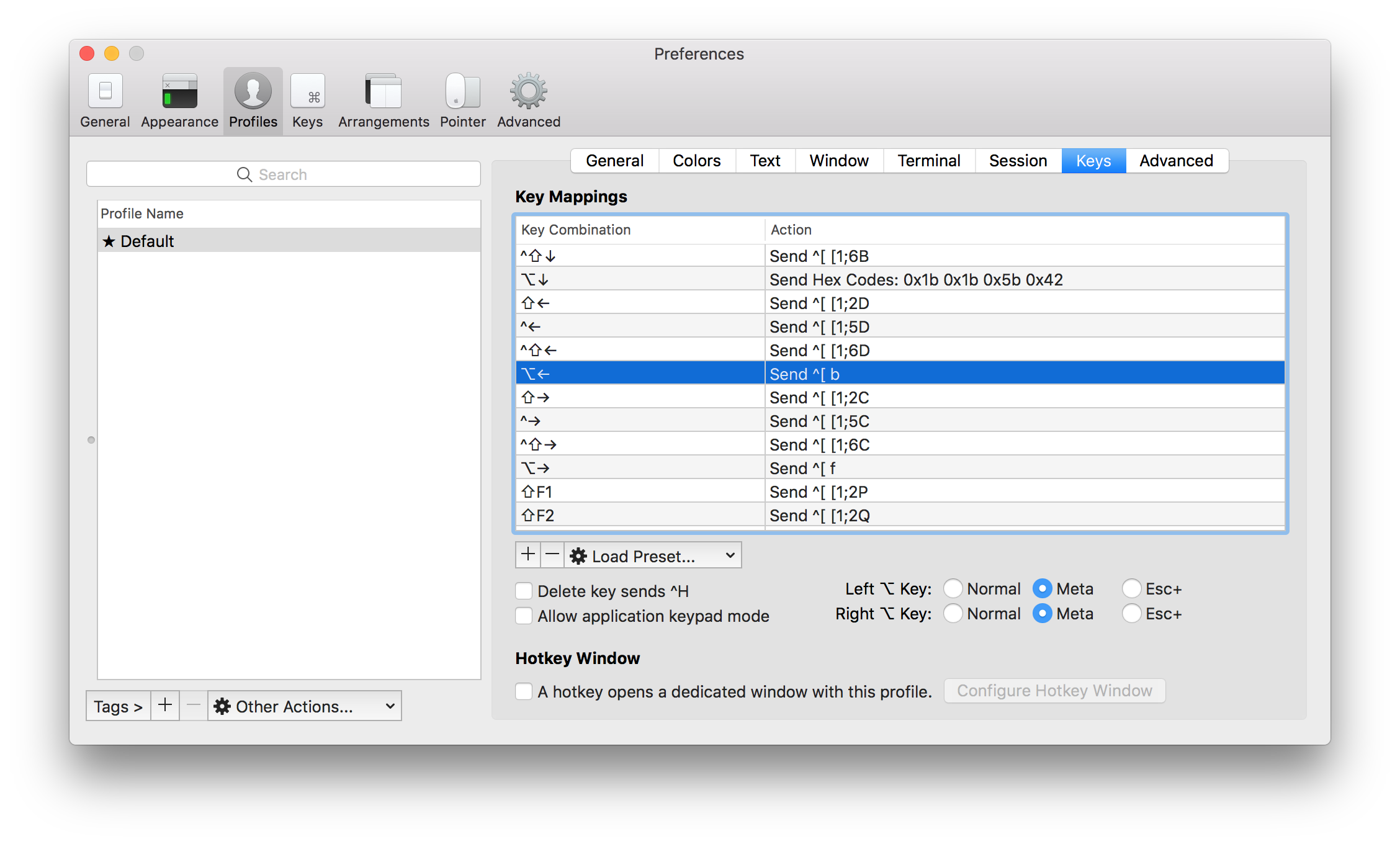 iTerm2 keys tab with Alt Mappings